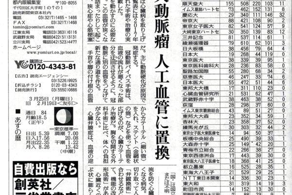 読売新聞「病院の実力」ニューハートは東京1位、関東圏2位